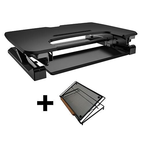 35-inch Sit-Stand Desk with Retractable Keyboard Tray with Adjustable Laptop Stand Bundle