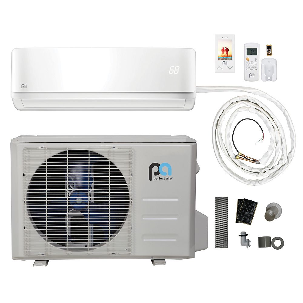 Perfect Aire 18,000 BTU, Efficacité écoénergétique 16, Connexions Rapides,  Pompe À Chaleur Mini-Split  (230V)