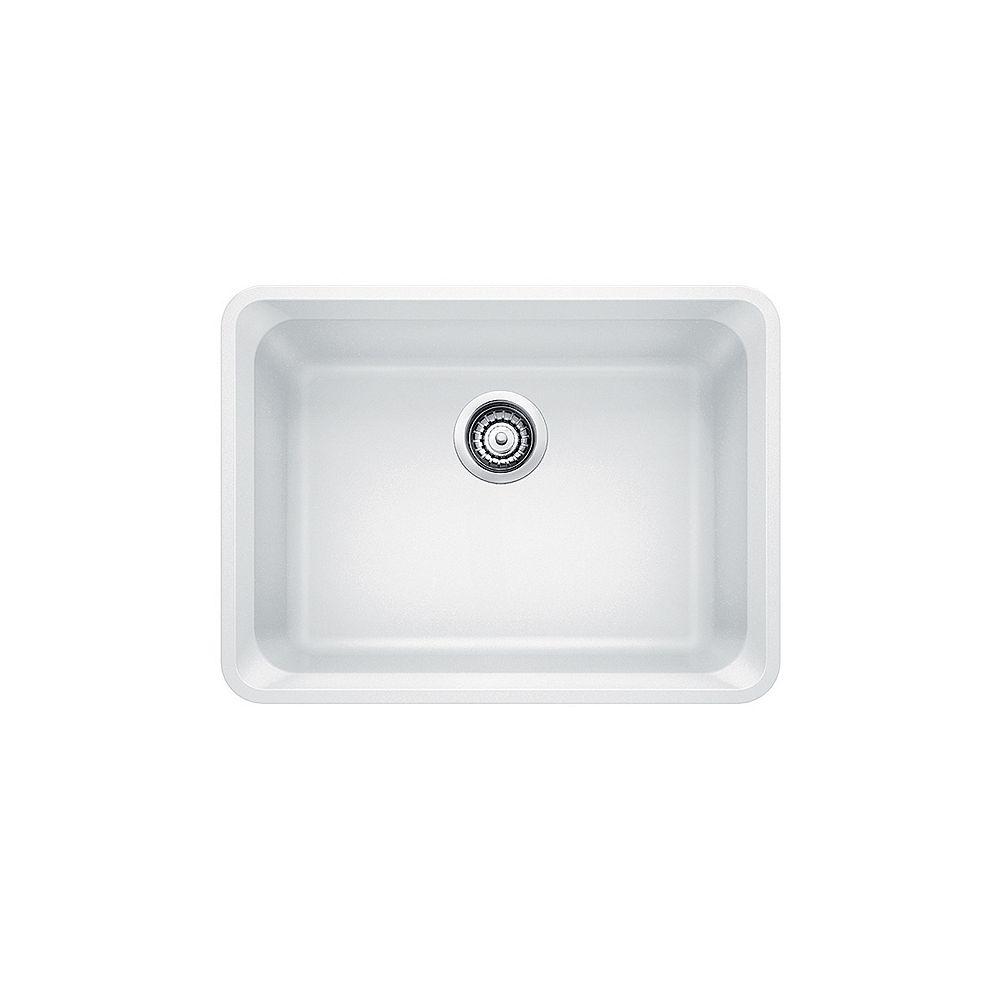 Blanco Évier de cuisine à montage sous plan et à une seule cuve VISION U 1, SILGRANIT blanc