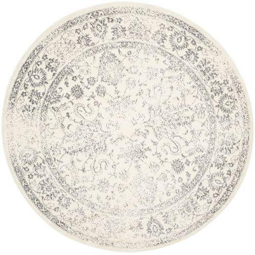 Tapis d'intérieur rond, 3 pi x 3 pi, Adirondack Mackenzie, ivoire / argent