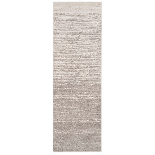 Adirondack Brian Light Grey / Grey 2 ft. 6-inch x 8 ft. Indoor Runner
