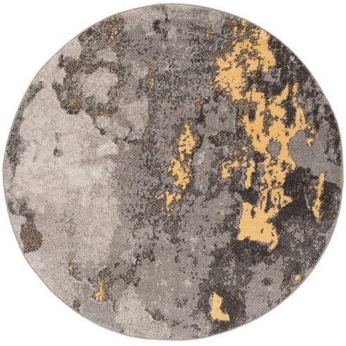 Tapis d'intérieur rond, 4 pi x 4 pi, Adirondack Ayden , gris / jaune