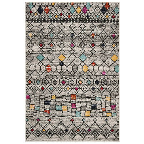 Adirondack Jannine Light Grey / Multi 4 ft. x 6 ft. Indoor Area Rug