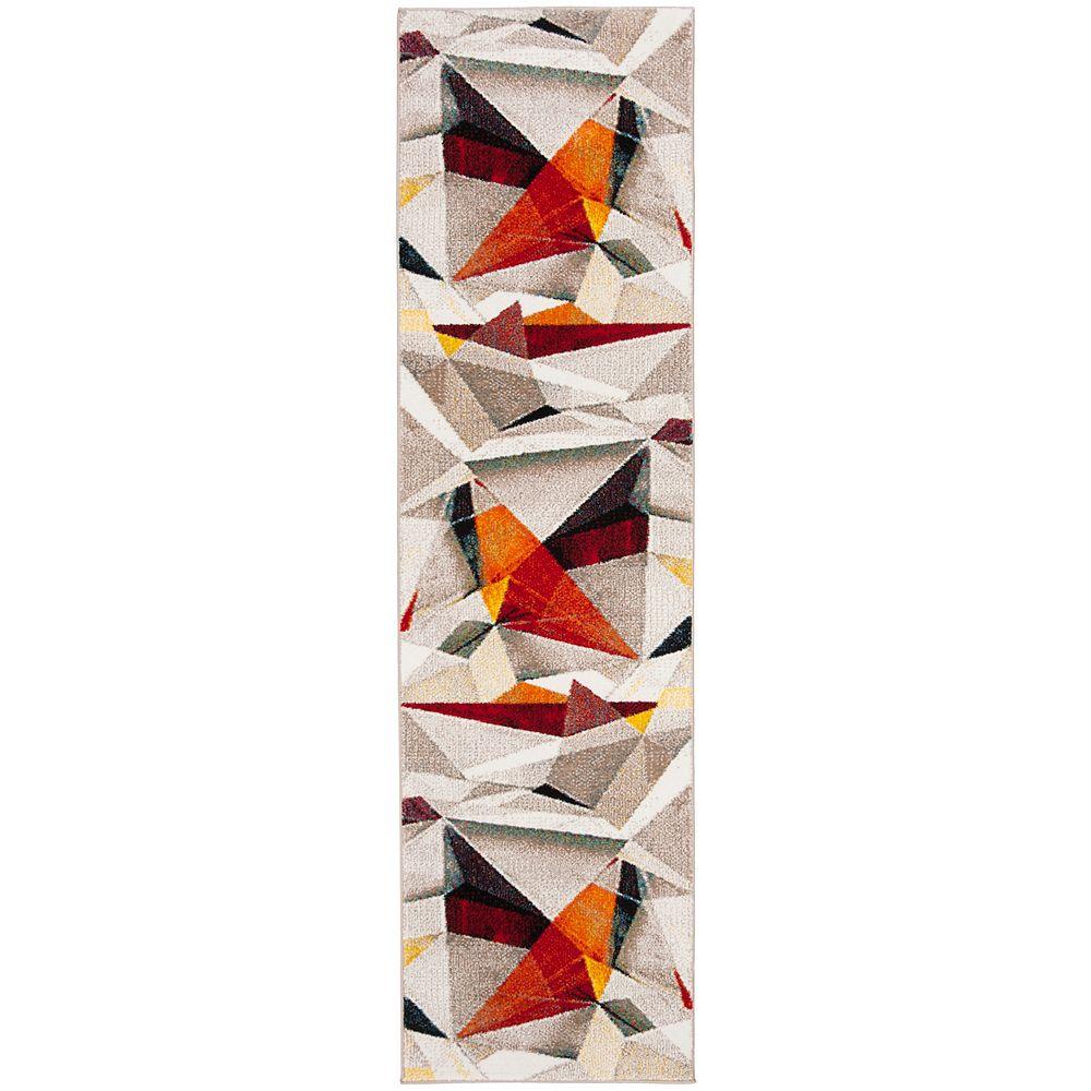 Safavieh Porcello Abby Light Grey / Orange 2 ft. 3-inch x 8 ft. Indoor Runner