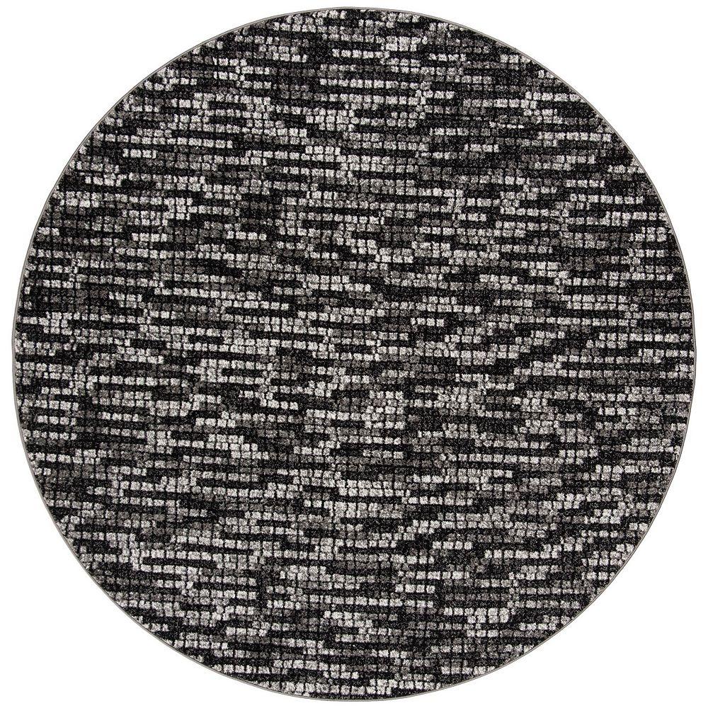 Safavieh Tapis d'intérieur rond, 6 pi 7 po x 6 pi 7 po, Porcello Annie, gris clair / gris charbon