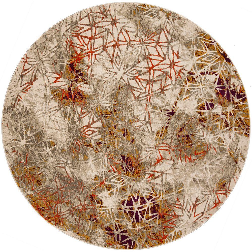 Safavieh Porcello Selwyn Grey / Purple 6 ft. 7-inch x 6 ft. 7-inch Round Indoor Area Rug