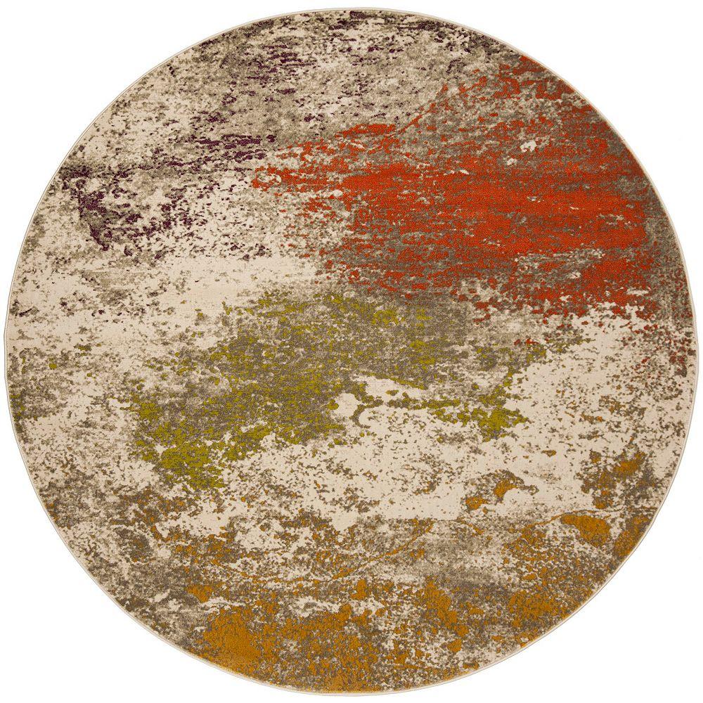 Safavieh Tapis d'intérieur rond, 6 pi 7 po x 6 pi 7 po, Porcello Jess, gris / orange
