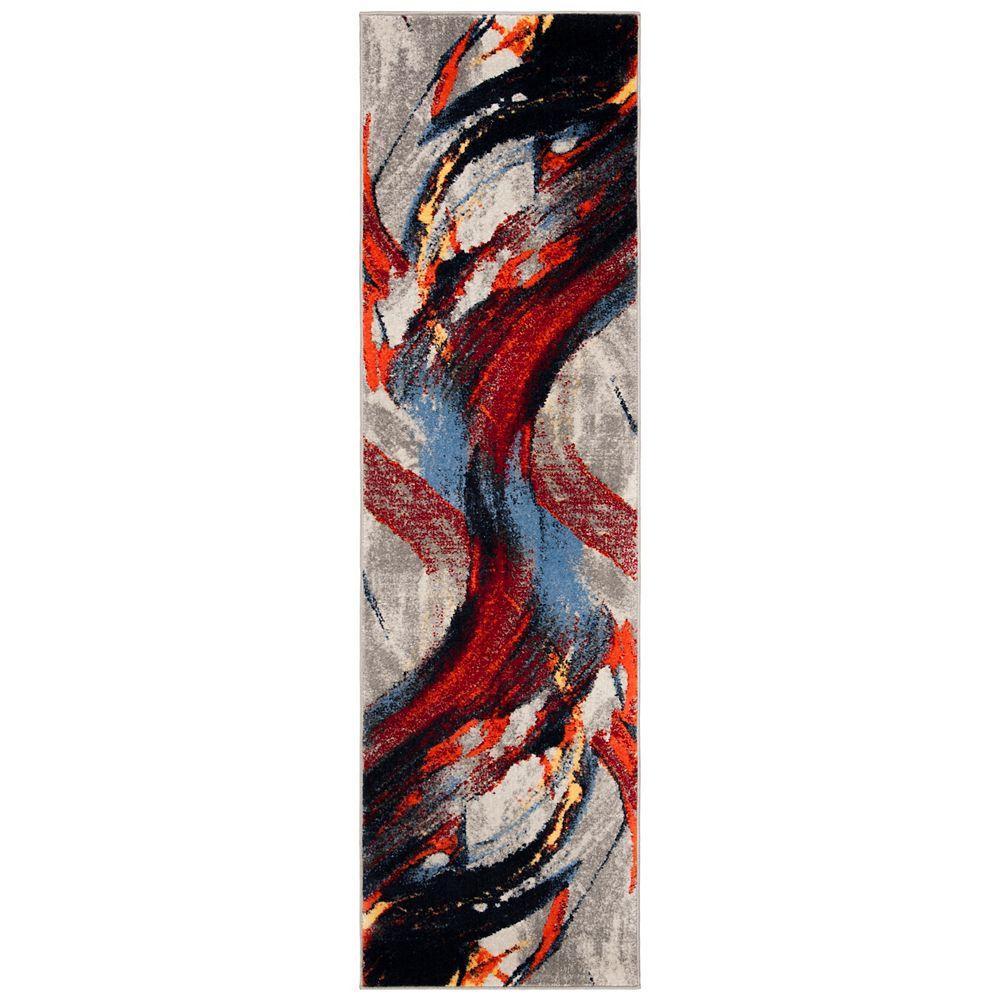 Safavieh Tapis de passage d'intérieur, 2 pi 3 po x 8 pi, Porcello Jamal, gris clair / rouge