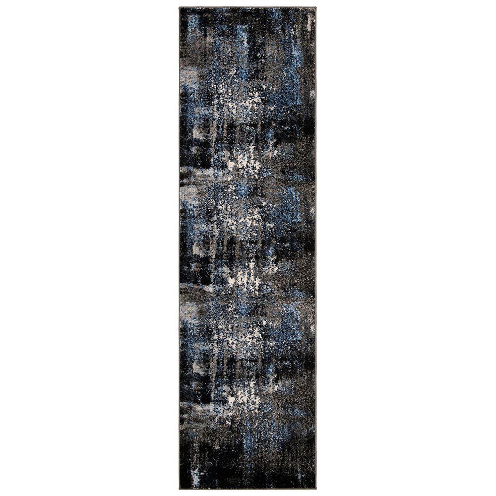 Safavieh Tapis de passage d'intérieur, 2 pi 3 po x 8 pi, Porcello Wichita, gris / noir