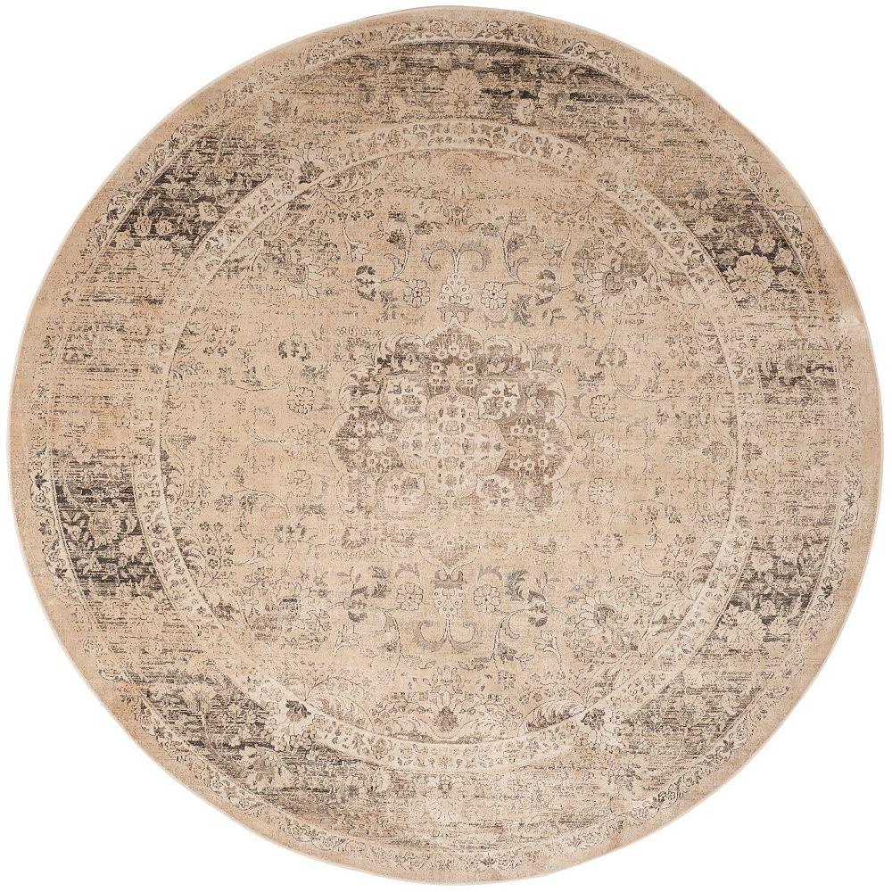 Safavieh Tapis d'intérieur rond, 8 pi x 8 pi, Vintage Bevin, beige chaud