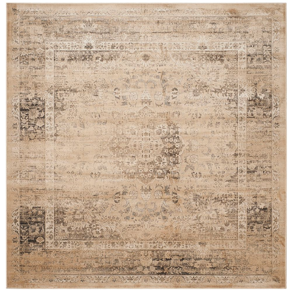 Safavieh Tapis d'intérieur carré, 8 pi x 8 pi , Vintage Bevin, beige chaud