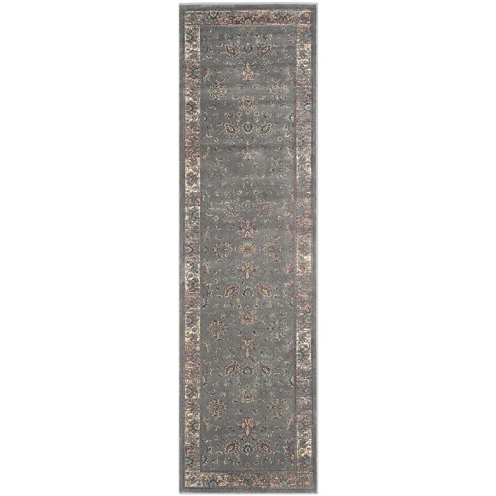 Safavieh Tapis de passage d'intérieur, 2 pi 2 po x 10 pi, Vintage Rothesay, gris / multi