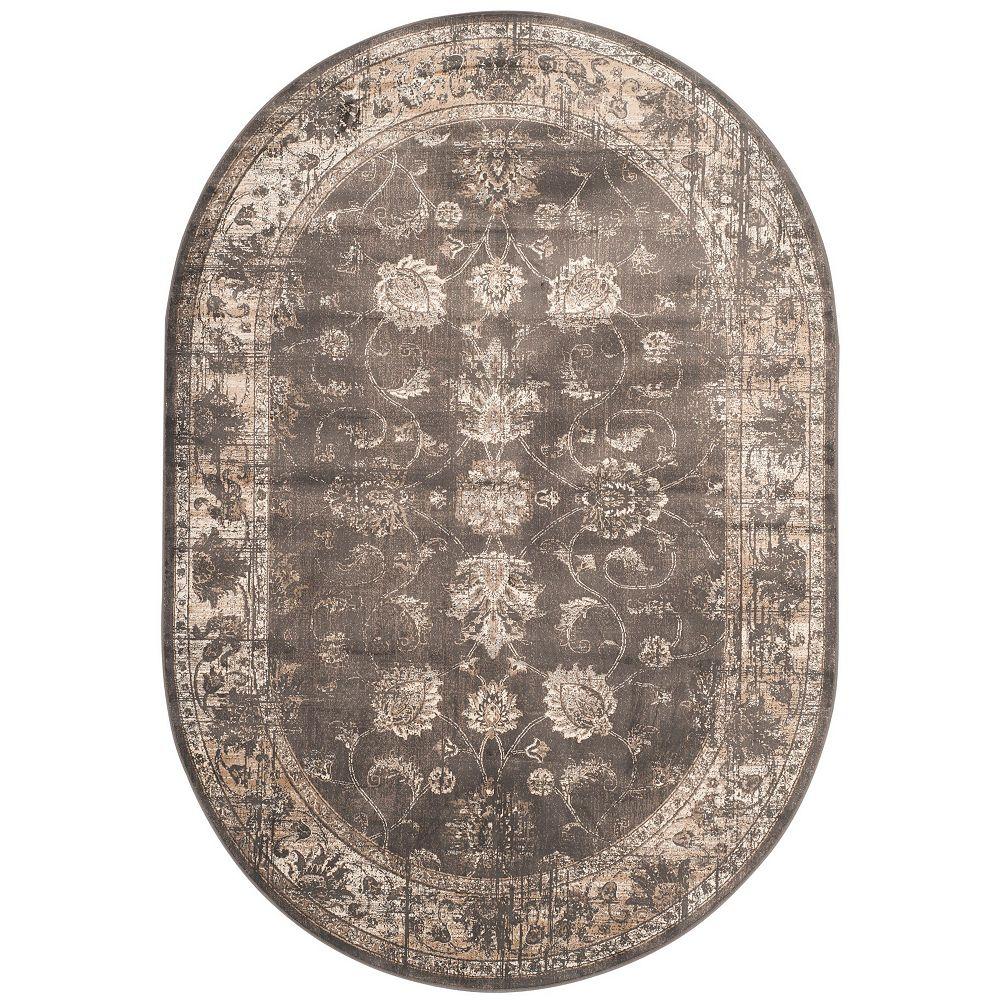 Safavieh Tapis d'intérieur ovale, 5 pi 3 po x 7 pi 6 po, Vintage Rothesay, anthracite doux