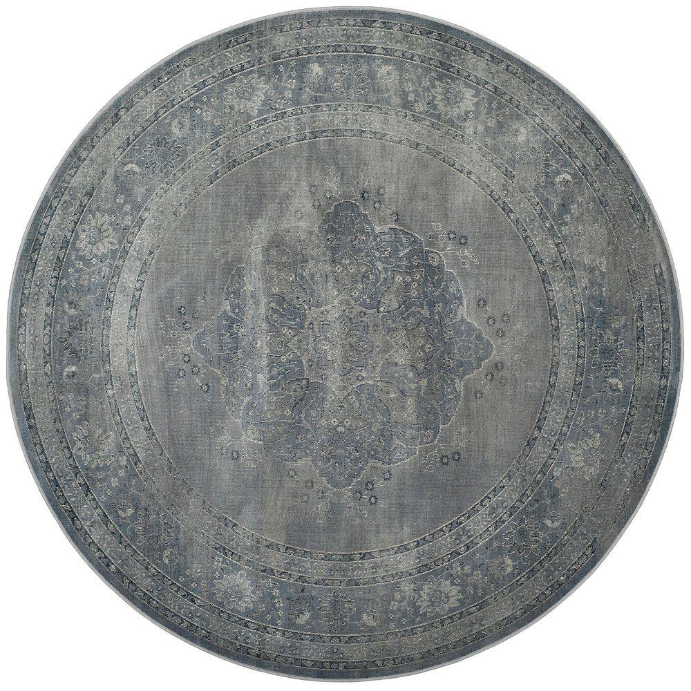 Safavieh Tapis d'intérieur rond, 6 pi x 6 pi, Vintage Autumn, bleu clair / gris clair
