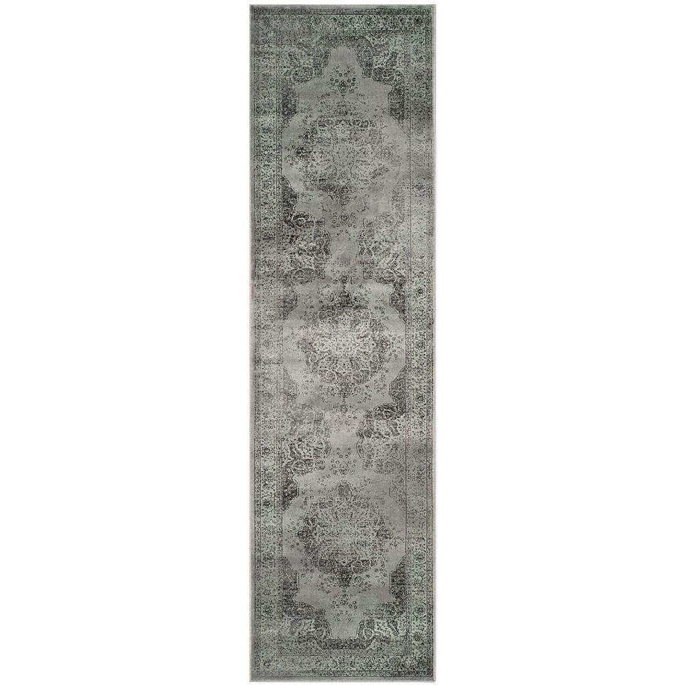 Safavieh Tapis de passage d'intérieur, 2 pi 2 po x 16 pi, Vintage Autumn, gris / multi