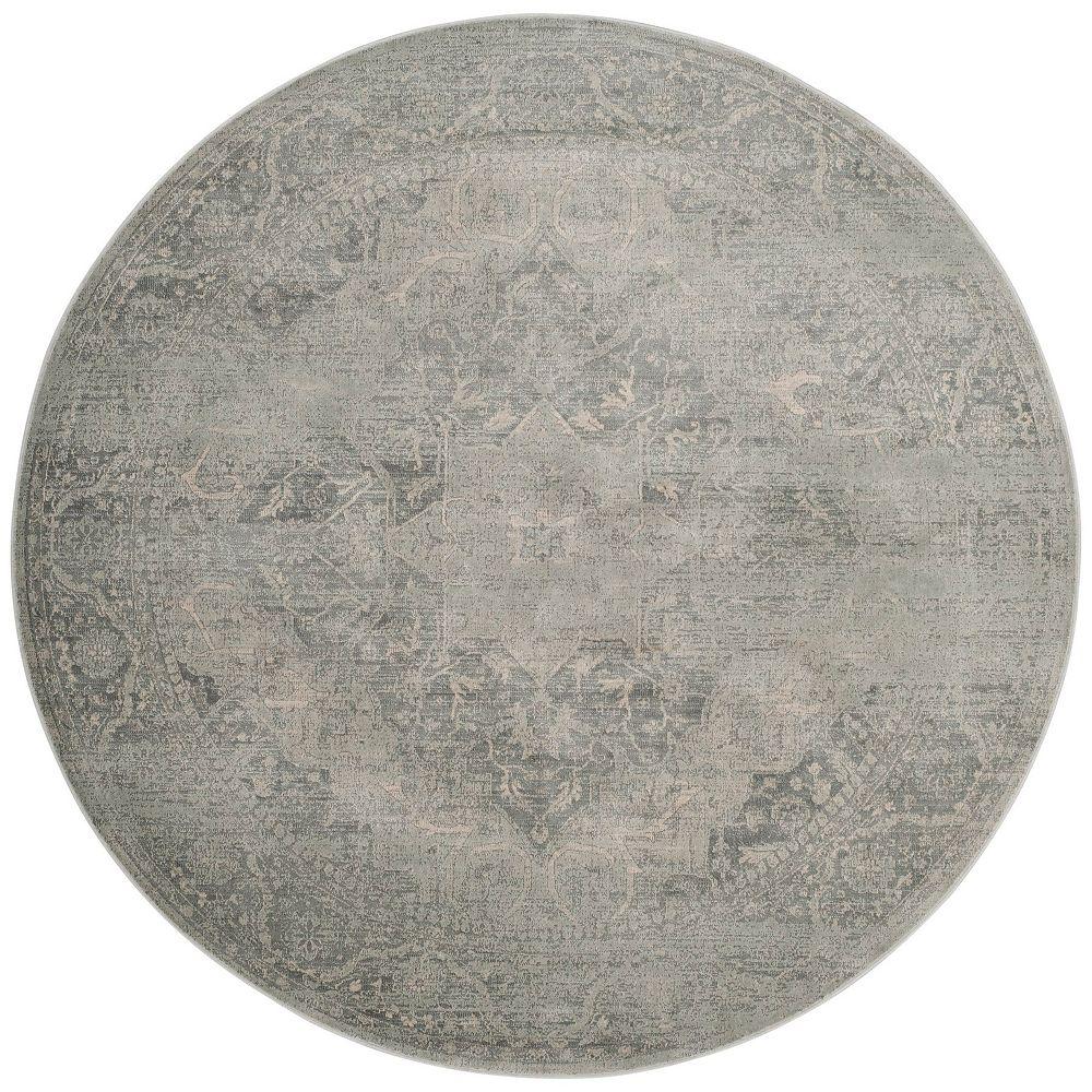 Safavieh Tapis d'intérieur rond, 6 pi x 6 pi, Vintage Karolina, argent