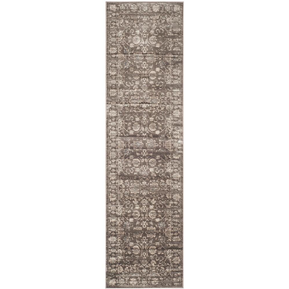 Safavieh Tapis de passage d'intérieur, 2 pi 2 po x 12 pi, Vintage April, brun / ivoire
