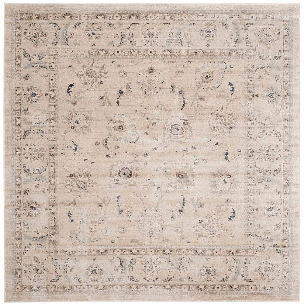 Safavieh Tapis d'intérieur carré, 6 pi 7 po x 6 pi 7 po , Vintage Sebastian, gris clair / ivoire