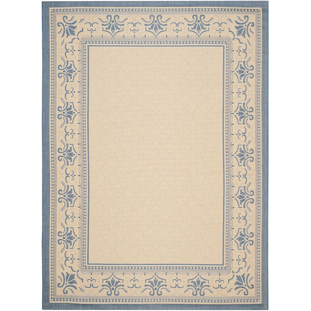 Safavieh Courtyard Bayon Natural / Blue 4 ft. x 5 ft. 7-inch Indoor Area Rug
