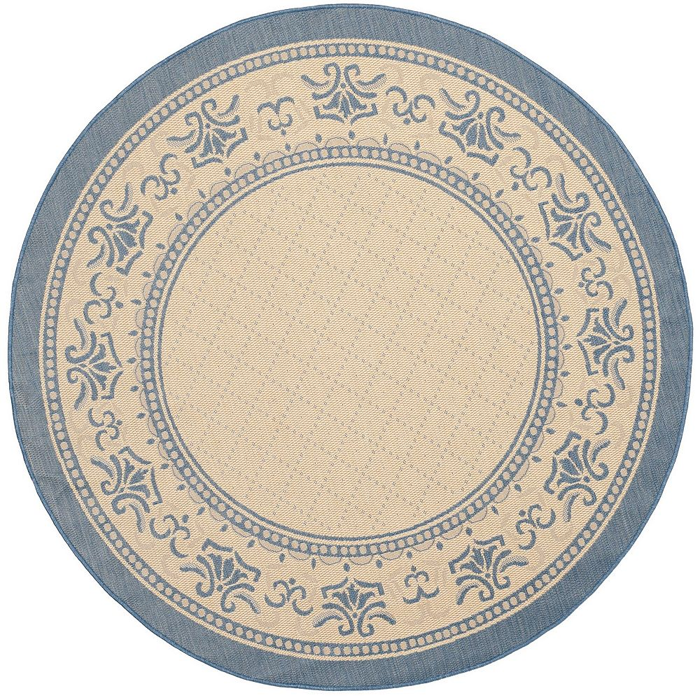 Safavieh Courtyard Bayon Natural / Blue 6 ft. 7-inch x 6 ft. 7-inch Round Indoor Area Rug