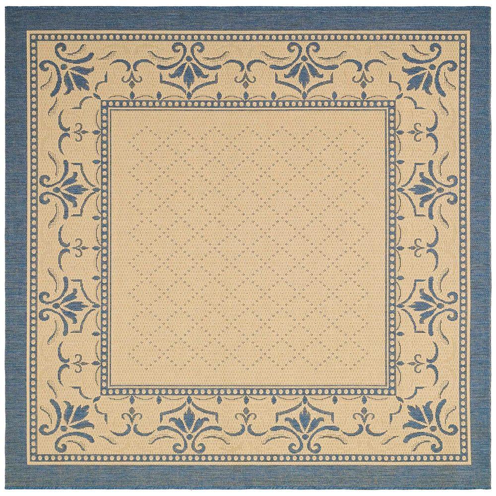 Safavieh Tapis d'intérieur/extérieur carré, 7 pi 10 po x 7 pi 10 po, Courtyard Bayon, naturel / bleu