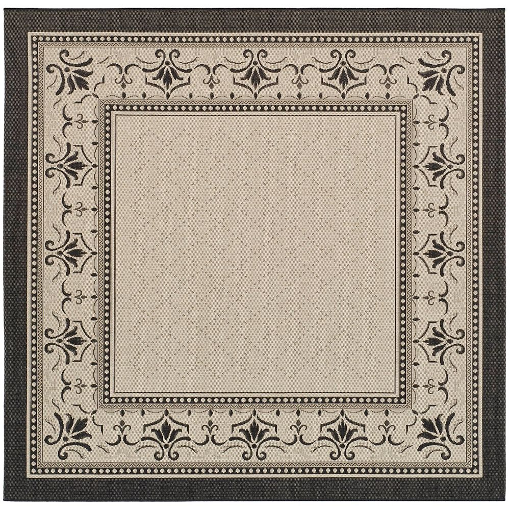Safavieh Courtyard Bayon Sand / Black 6 ft. 7-inch x 6 ft. 7-inch Square Indoor Area Rug