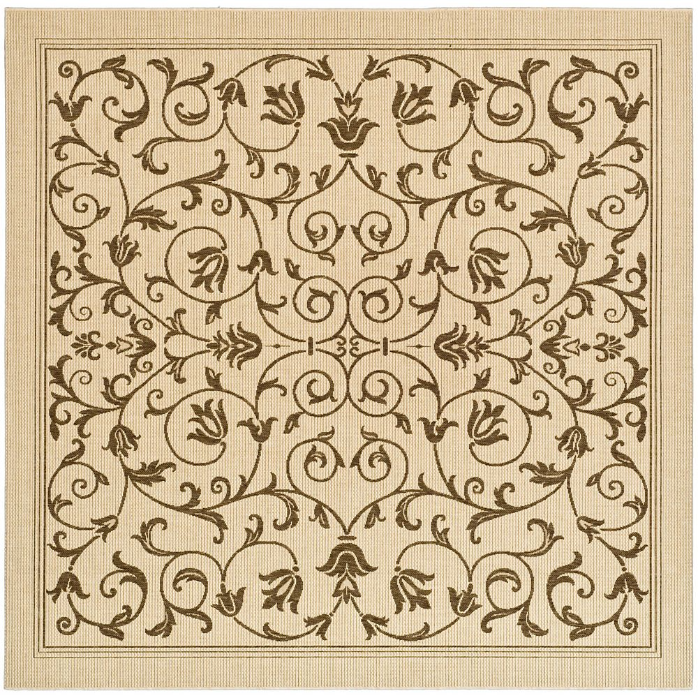 Safavieh Tapis d'intérieur/extérieur carré, 6 pi 7 po x 6 pi 7 po , Courtyard Marc, naturel / brun