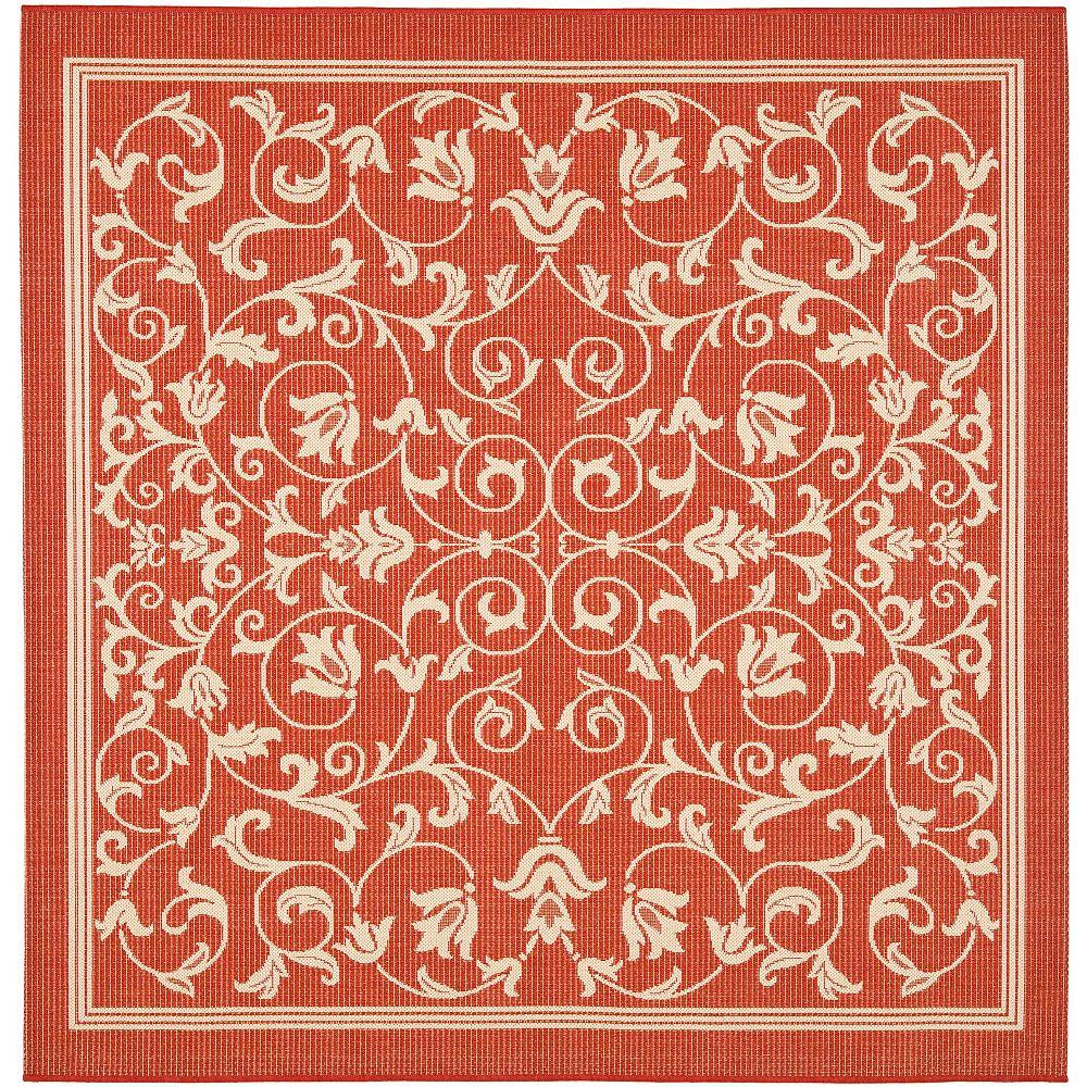Safavieh Tapis d'intérieur/extérieur carré, 7 pi 10 po x 7 pi 10 po, Courtyard Marc, rouge / naturel