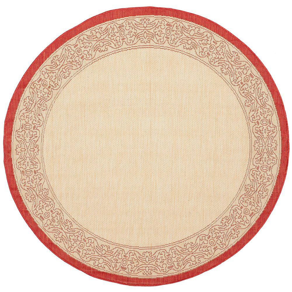 Safavieh Tapis d'intérieur/extérieur rond, 6 pi 7 po x 6 pi 7 po, Courtyard Montana, naturel / rouge