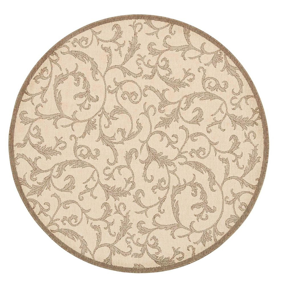 Safavieh Courtyard Calleigh Natural / Brown 5 ft. 3-inch x 5 ft. 3-inch Round Indoor Area Rug