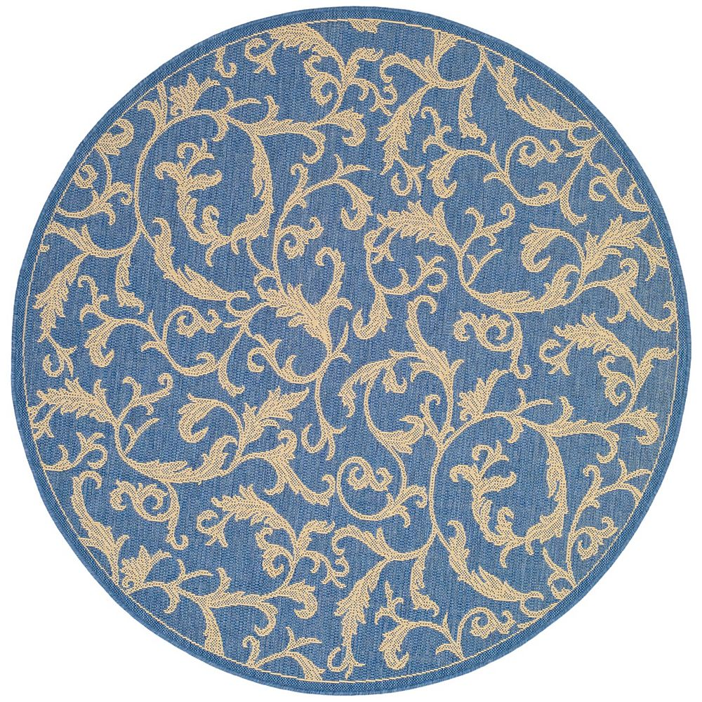 Safavieh Courtyard Calleigh Blue / Natural 7 ft. 10-inch x 7 ft. 10-inch Round Indoor Area Rug