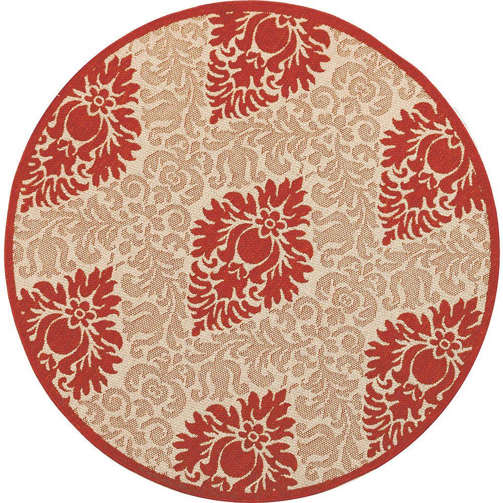 Safavieh Tapis d'intérieur/extérieur rond, 5 pi 3 po x 5 pi 3 po, Courtyard Elijah, naturel / rouge