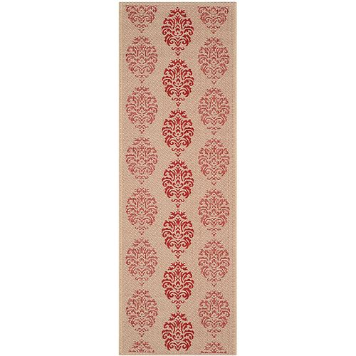 Safavieh Courtyard Isidore Natural / Red 2 ft. 3-inch x 6 ft. 7-inch Indoor Runner