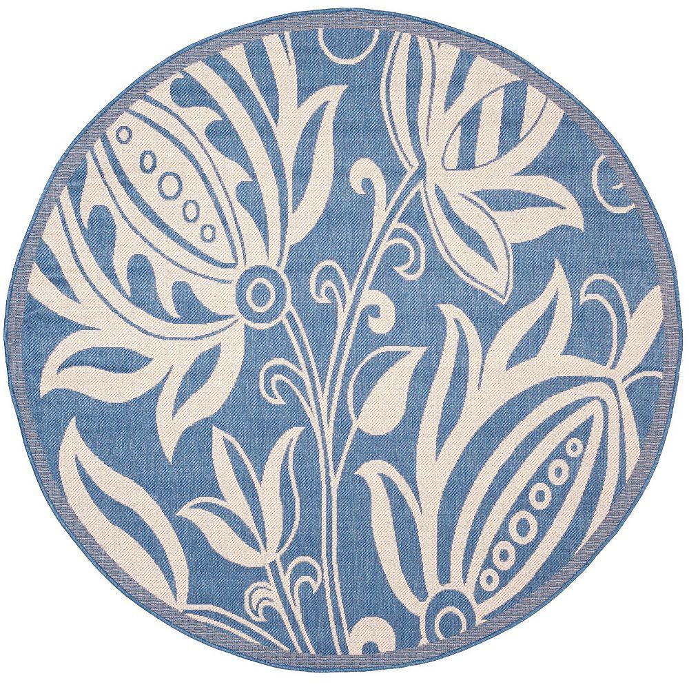 Safavieh Tapis d'intérieur/extérieur rond, 5 pi 3 po x 5 pi 3 po, Courtyard Dylan, bleu / naturel
