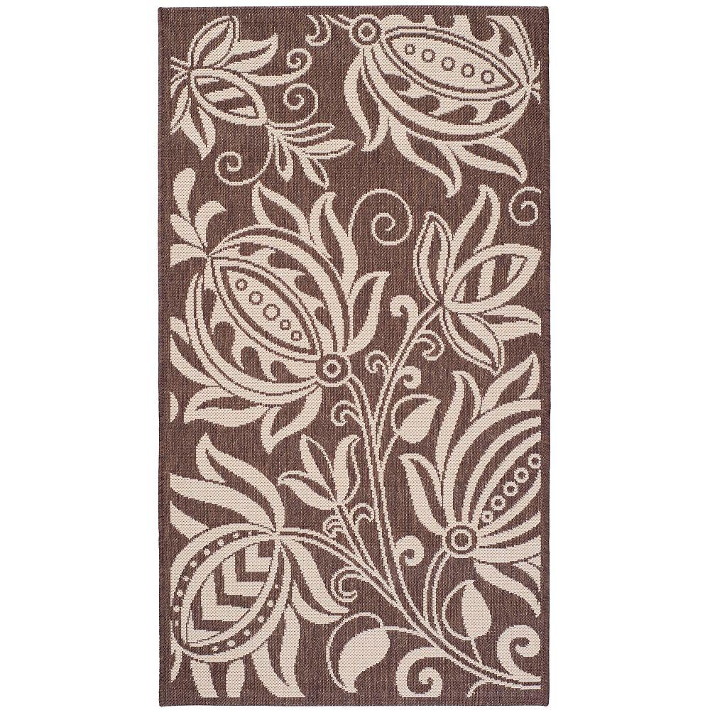 Safavieh Tapis d'intérieur/extérieur, 4 pi x 5 pi 7 po, Courtyard Dylan, chocolat / naturel