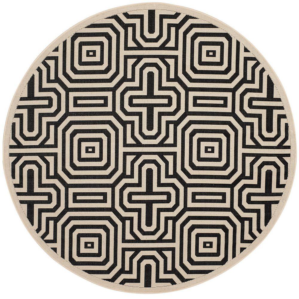 Safavieh Courtyard Deonne Sand / Black 5 ft. 3-inch x 5 ft. 3-inch Round Indoor Area Rug