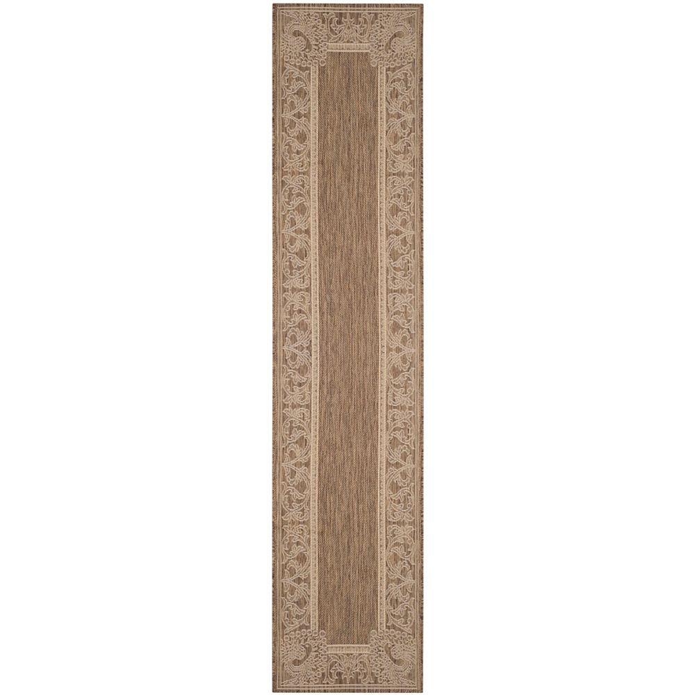 Safavieh Tapis de passage d'intérieur/extérieur, 2 pi 3 po x 10 pi, Courtyard Garret, brun / naturel