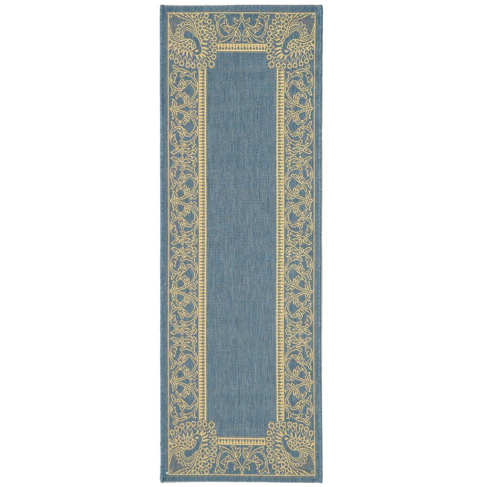 Safavieh Tapis de passage d'intérieur/extérieur, 2 pi 3 po x 6 pi 7 po, Courtyard Garret, bleu / naturel