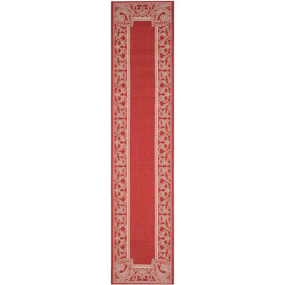 Safavieh Tapis de passage d'intérieur/extérieur, 2 pi 3 po x 6 pi 7 po, Courtyard Garret, rouge / naturel