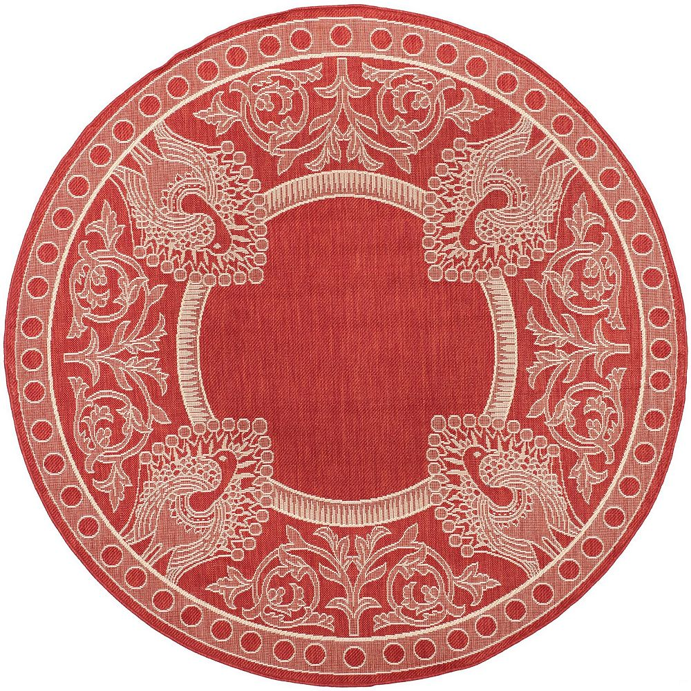 Safavieh Tapis d'intérieur/extérieur rond, 6 pi 7 po x 6 pi 7 po, Courtyard Garret, rouge / naturel