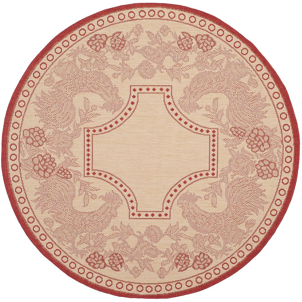 Safavieh Tapis d'intérieur/extérieur rond, 5 pi 3 po x 5 pi 3 po, Courtyard Eden, naturel / rouge