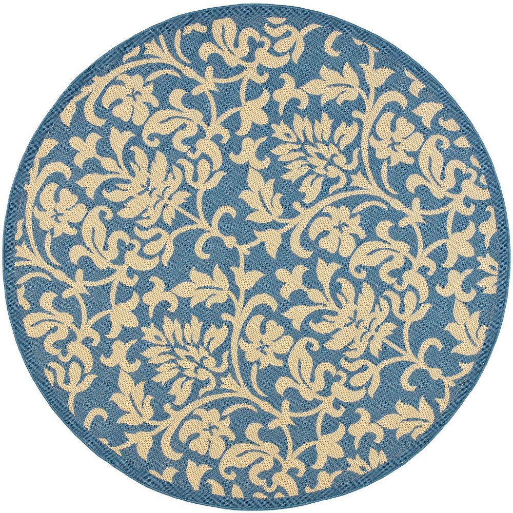 Safavieh Tapis d'intérieur/extérieur rond, 6 pi 7 po x 6 pi 7 po, Courtyard Imogene, bleu / naturel