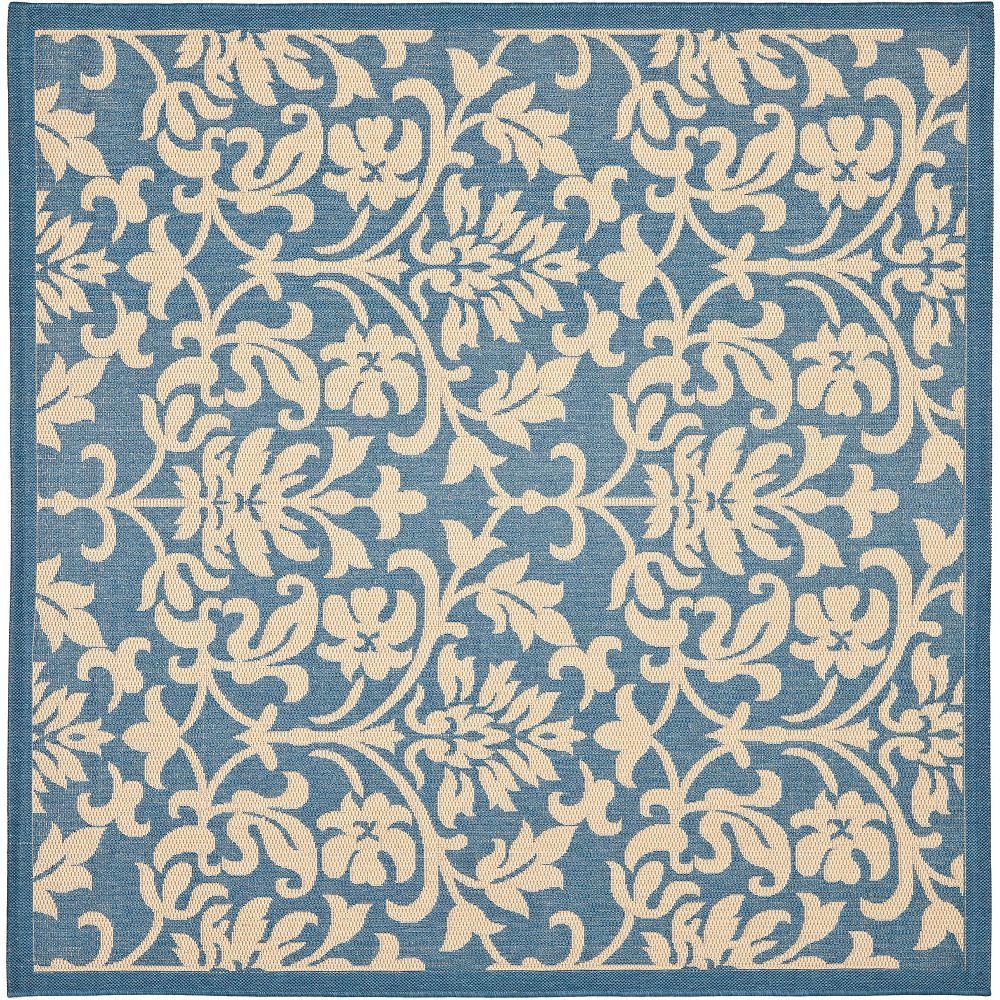 Safavieh Tapis d'intérieur/extérieur carré, 6 pi 7 po x 6 pi 7 po , Courtyard Imogene, bleu / naturel