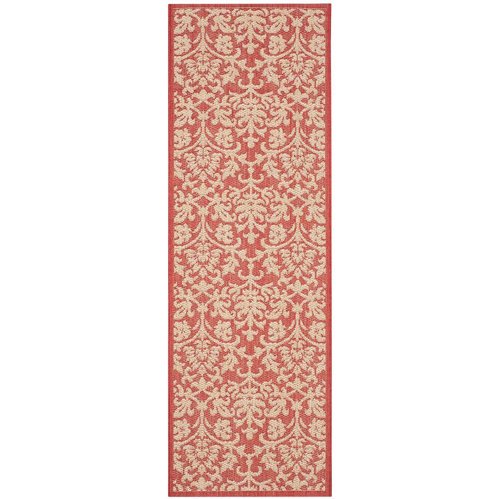 Safavieh Tapis de passage d'intérieur/extérieur, 2 pi 3 po x 10 pi, Courtyard Imogene, rouge / naturel
