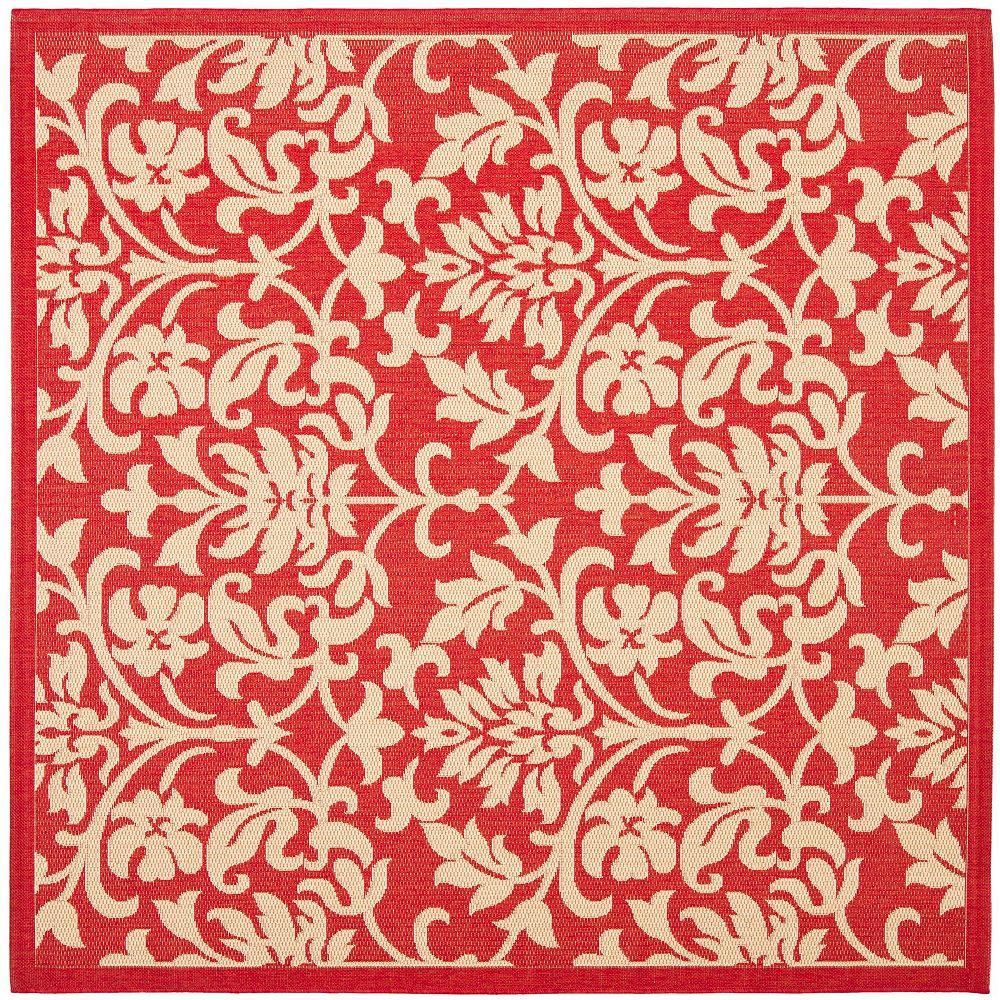Safavieh Tapis d'intérieur/extérieur carré, 7 pi 10 po x 7 pi 10 po, Courtyard Imogene, rouge / naturel
