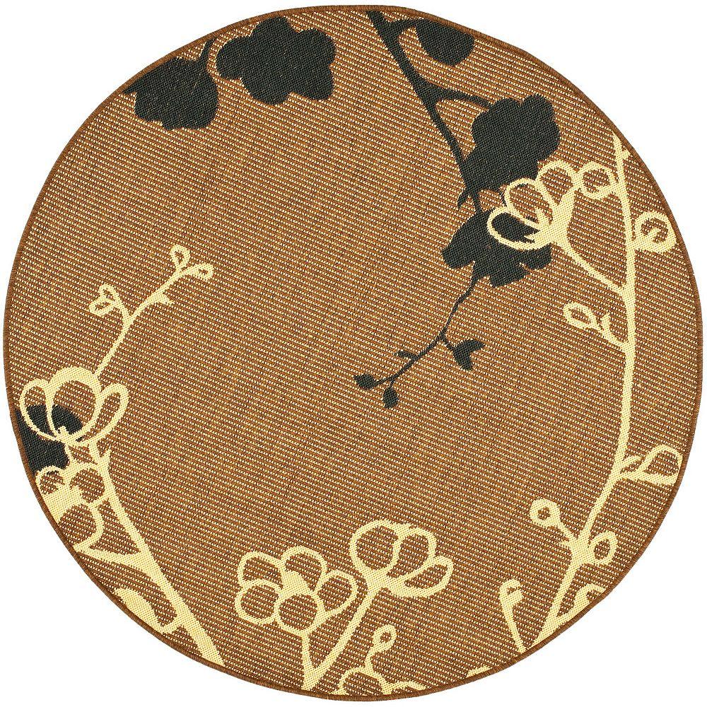 Safavieh Tapis d'intérieur/extérieur rond, 5 pi 3 po x 5 pi 3 po, Courtyard Emerson, naturel brun / noir