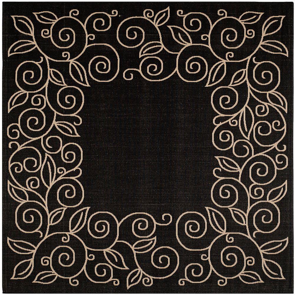 Safavieh Tapis d'intérieur/extérieur carré, 7 pi 10 po x 7 pi 10 po, Courtyard Zak, noir / beige