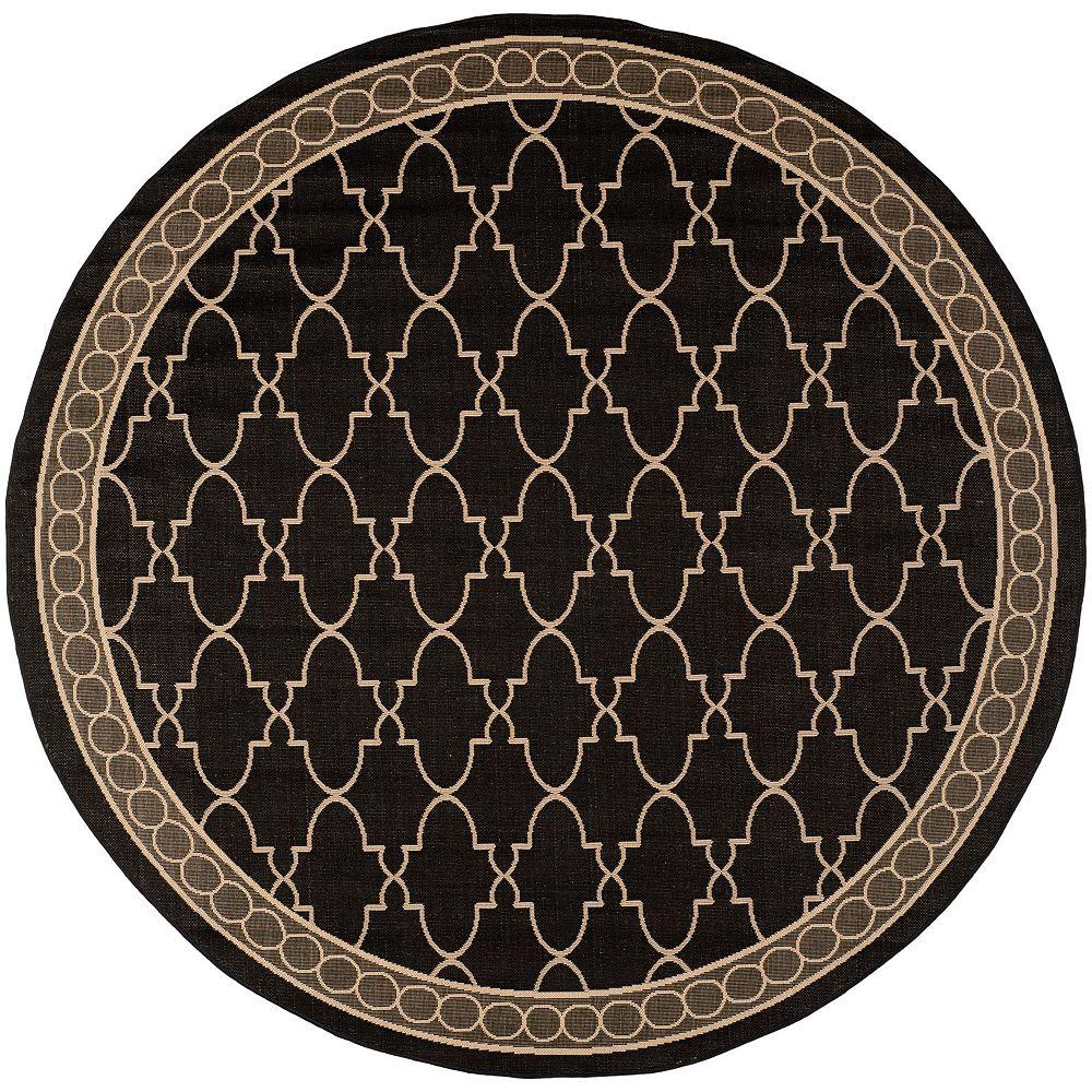 Safavieh Tapis d'intérieur/extérieur rond, 7 pi 10 po x 7 pi 10 po, Courtyard Bart, noir / beige