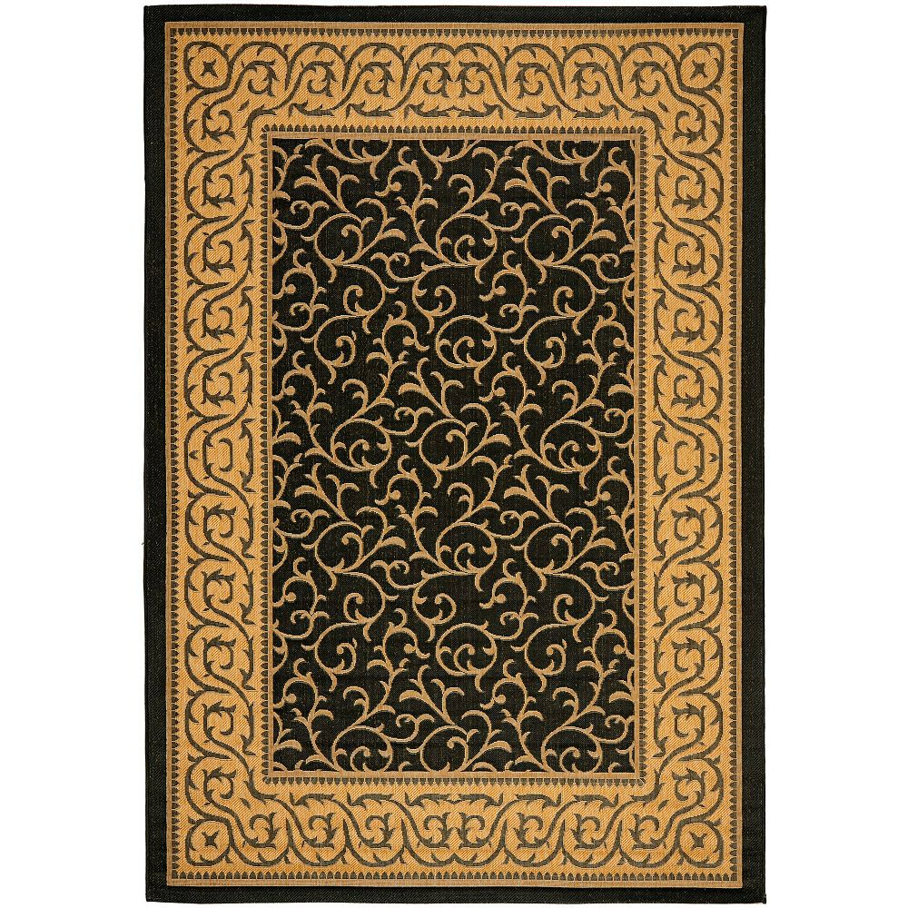 Safavieh Courtyard Ceallach Black / Natural 5 ft. 3-inch x 7 ft. 7-inch Indoor Area Rug