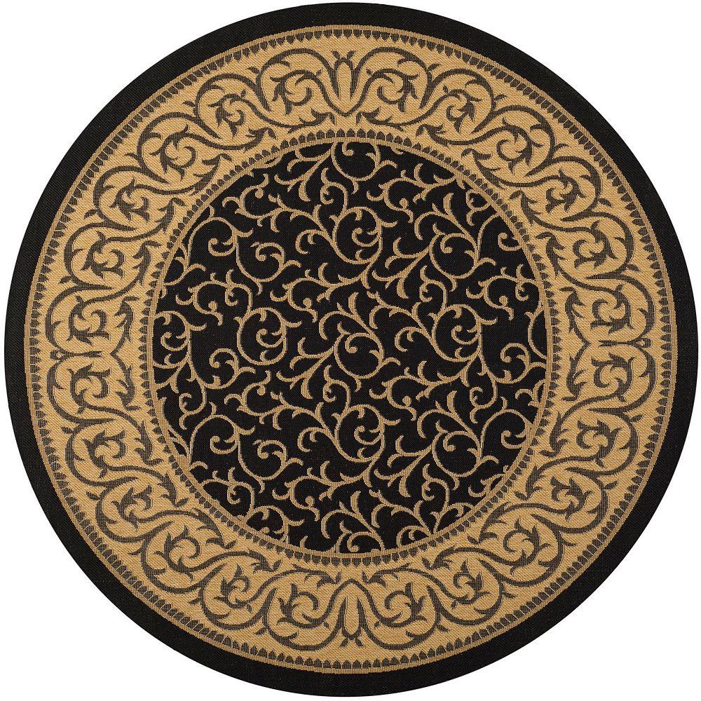 Safavieh Tapis d'intérieur/extérieur rond, 6 pi 7 po x 6 pi 7 po, Courtyard Ceallach, noir / naturel